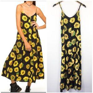Boho Sunflower Midi Button Down Dress Motel S